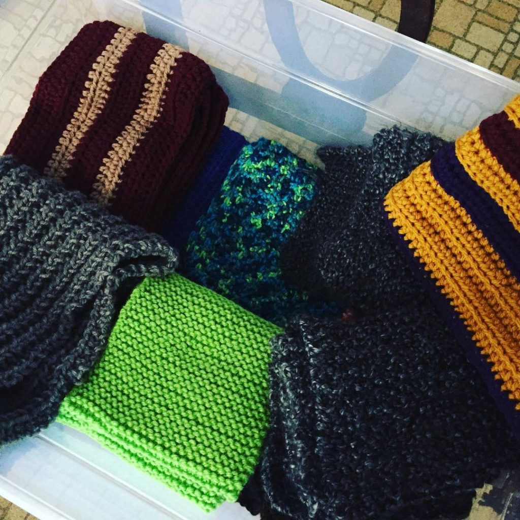 Today Im delivering another 20 scarves to the Breaking Breadhellip